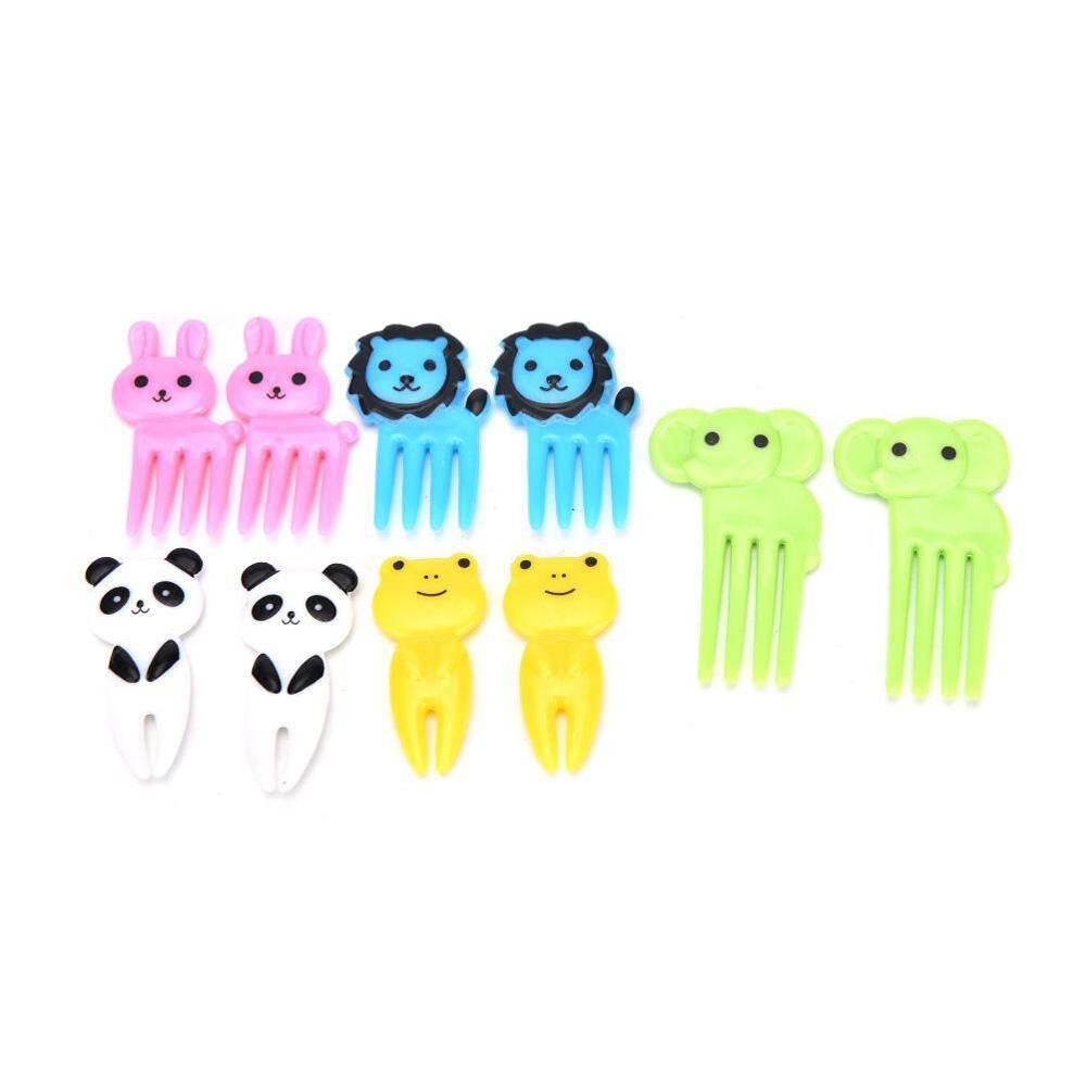 Provide The Best 10pcs Cute Small Cartoon Animal Children Fruit Forks Kids Plastic Bento Home Decor Accessory