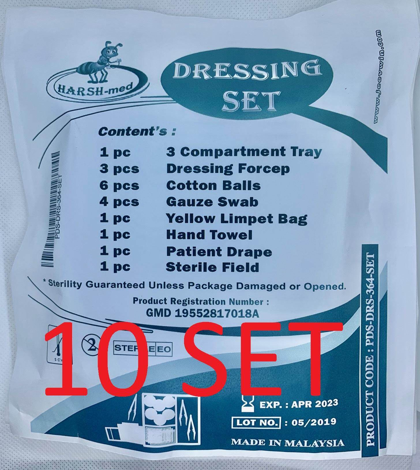 Woundcare Disposable 364 Dressing Set (set Of 10) - 3 Dressing Forceps / Penyepit By Skv Medical Supplies Malaysia.