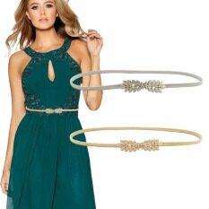 Thắt Lưng Thun Vàng Bạc Cho Nữ Thắt Lưng Thắt Lưng Nữ Hình Lá Hoa Cho Váy Thắt Lưng Nữ Kim Loại Bó Co Giãn