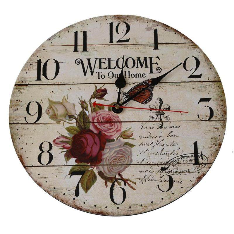 Rose flower butterfly English alphabet Round Wood wall clock table