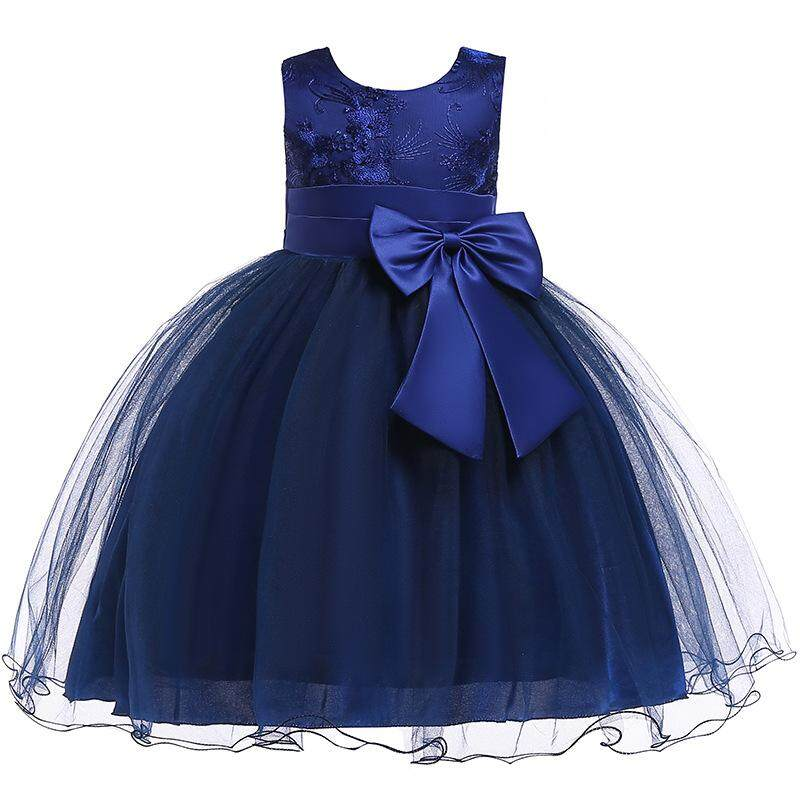 5a416c561a742 Baby Girl Bow Gowns Formal Party lace solid color sleeveless embroidery  Mesh Princess Dress pearl Kids Teenage girls clothing