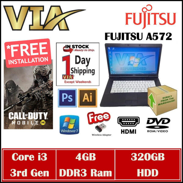 (FREE SHIPPING) COD MOBILE Fujitsu A572/F Core i3~4GB~320GB~Win7~Call Of Duty Mobile Gaming Malaysia