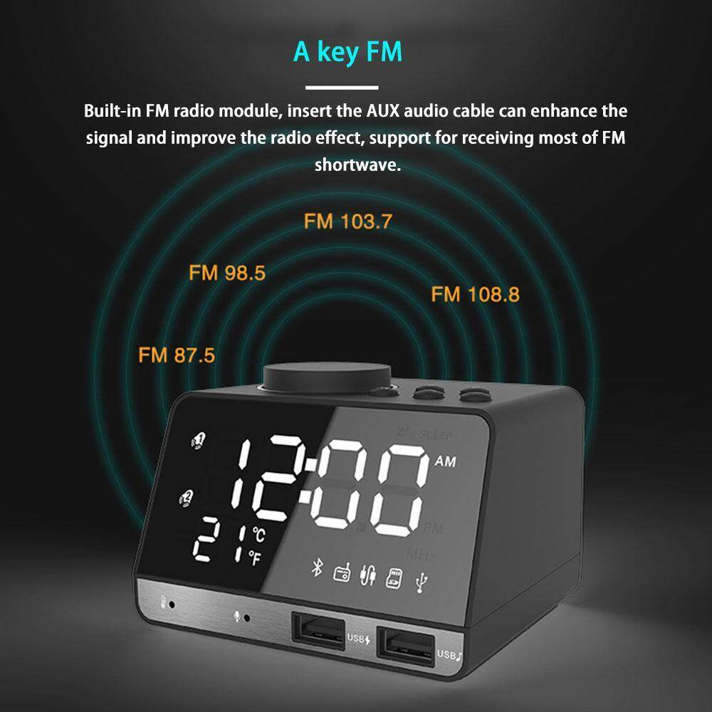 NiceToEmpty LED Alarm Clock FM Radio,with Wireless Bluetooth Speaker Player,USB Fast Charge Port,Indoor Temperature(UK/US/EU Plug)And European Power Supply