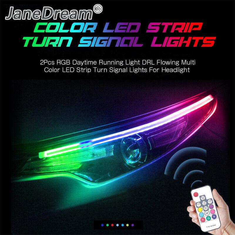 JaneDream , 2 Chiếc Đèn Chạy Ban Ngày RGB 45Cm Dải Đèn LED Nhiều Màu Chảy, Đèn Báo Rẽ Cho Đèn Pha