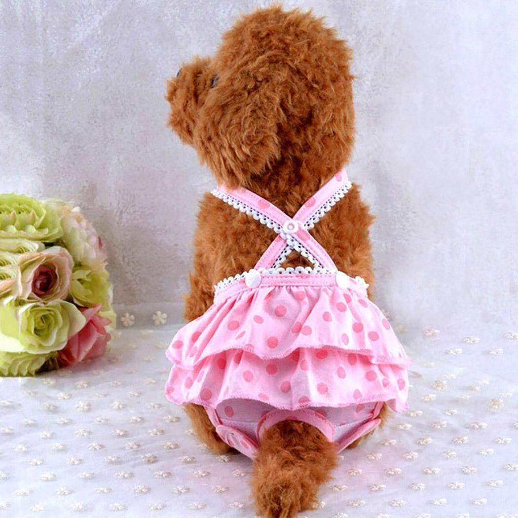 Chó Tã Có Thể Giặt Có Thể Tái Sử Dụng Vệ Sinh Pantie Đầm Chó Bông Tã với Suspender cho Nữ Chó L - 2