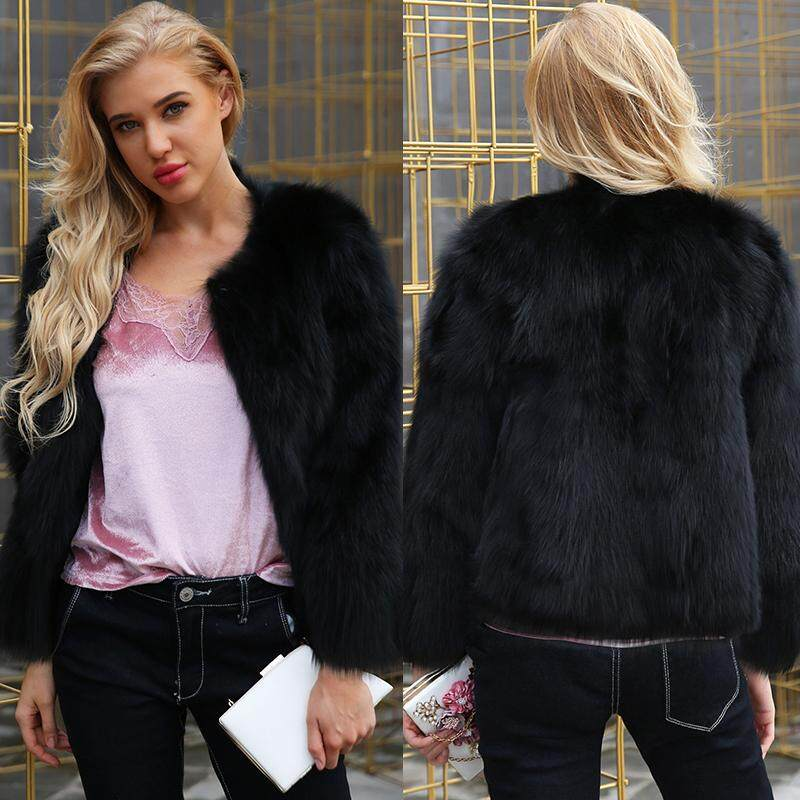 c380d3821bc Winter Women Faux Fur Coat Solid Color Long Sleeve Fluffy Outerwear Short  Jacket Hairy Warm Overcoat