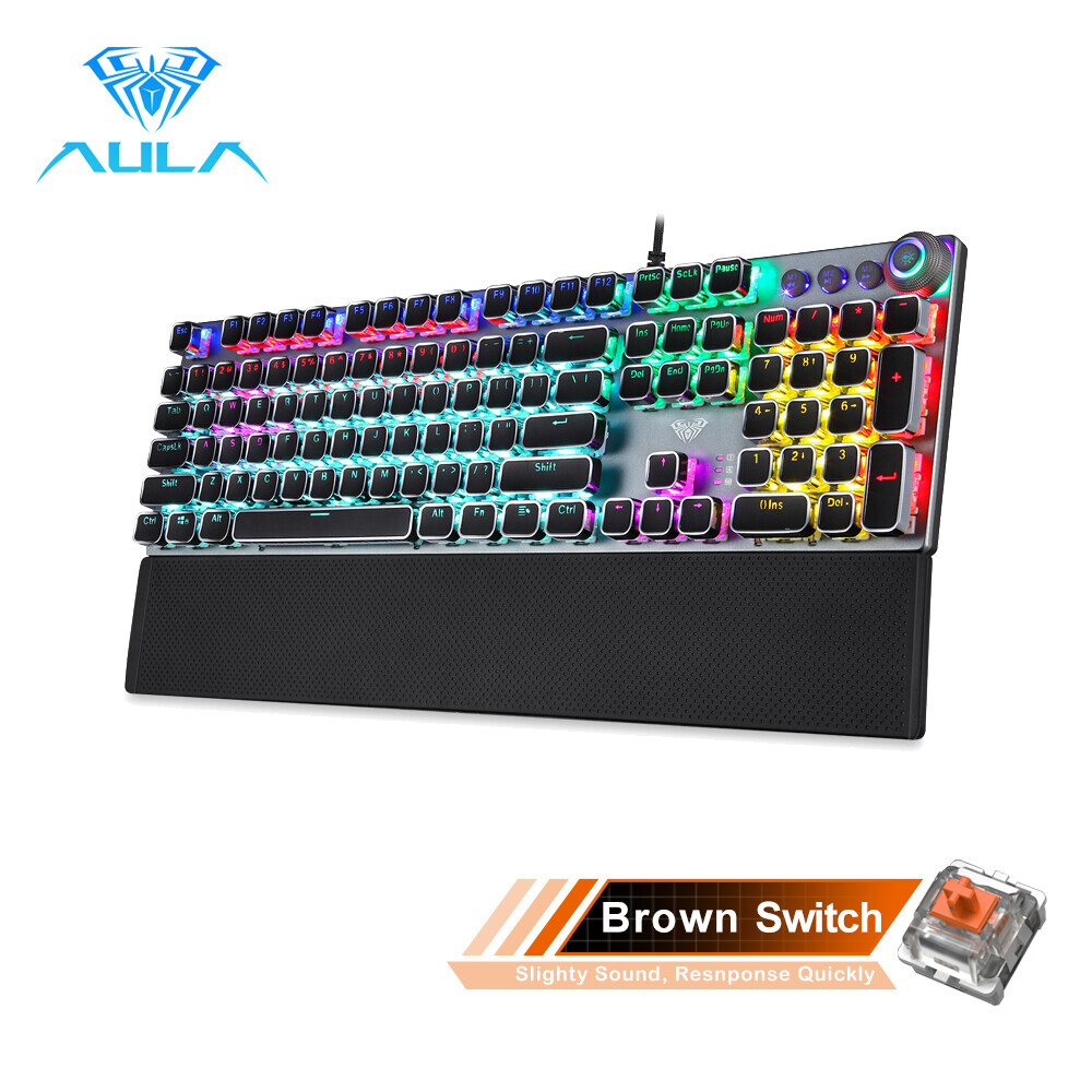 AULA F2088/F2058 Mechanical Gaming Keyboard Detachable wrist rest Multimedia Knob, 104 Keys Anti-ghosting Marco Programming metal panel  LED Backlit keyboard for PC Gamer (Punk keycap) Singapore