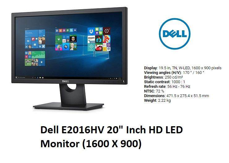 Dell E2016HV 20 Inch HD LED Monitor (1600 X 900) 3 Years Warranty (E2016H) Malaysia