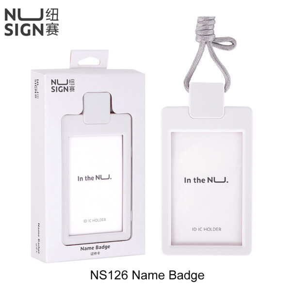 Deli Nusign NS126 Name Badge Vertical PC Solid Card Sleeve Round Angle Edge Push Button Design Employee Name ID Card Holder Work Certificate Identity Business Card Protective Cover Case With Nylon Lanyard Student Office Worker Use