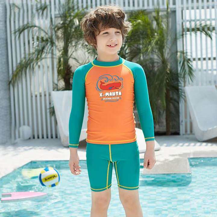 Swimming Bathing Suit Baby Boys Beach Surf Wear Beachwear Diving Suit Boys  Summer Wetsuits Long Sleeves Rash Guards Swimsuit Children UV Protection  Kids Sunscreen   Lazada