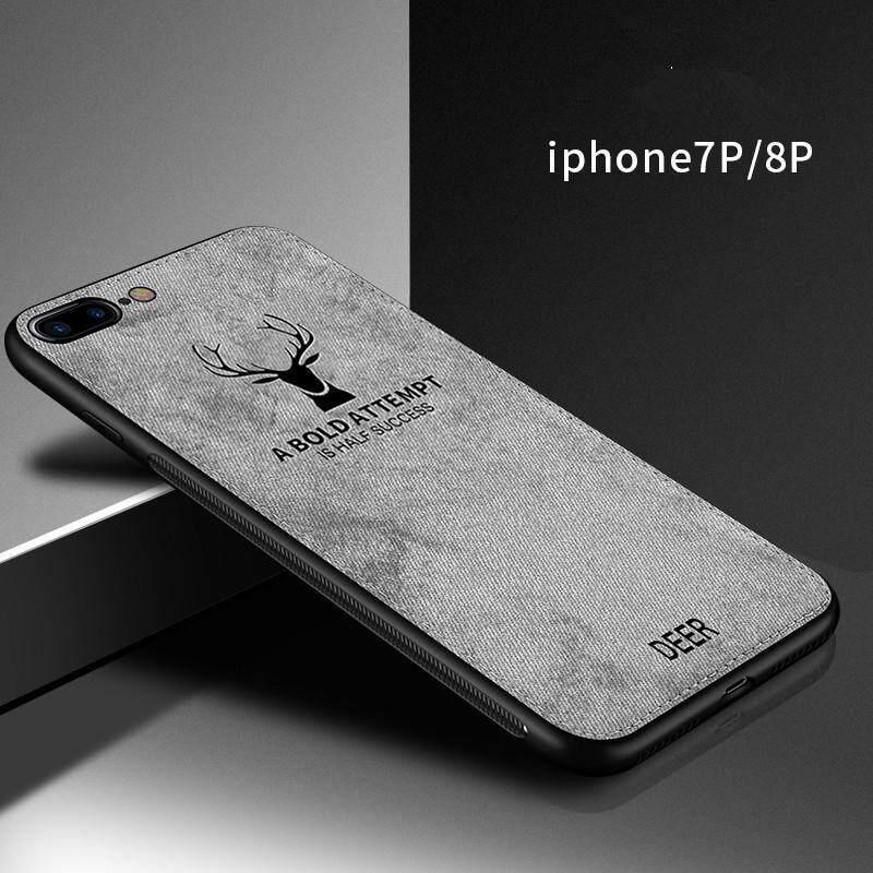 Giá [IPhone 7 Plus/8 Plus] Hươu Cổ Điển Vải Mềm Dệt họa tiết hình hươu Ốp Lưng