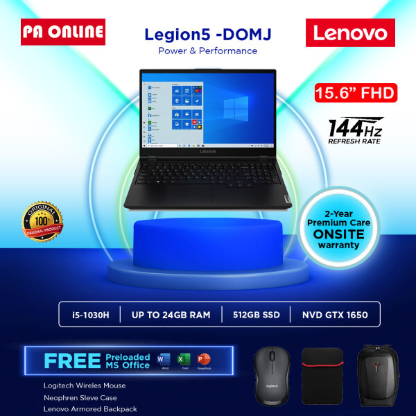 Lenovo Legion 5 5i 15IMH05 82AU00D0MJ (24GB RAM)- Intel Core i5-10300H /8GB-24GB RAM /512GB SSD /4GB NVD GTX1650 /15.6 FHD IPS 144Hz /Win 10 /Ms office /2 Years Malaysia