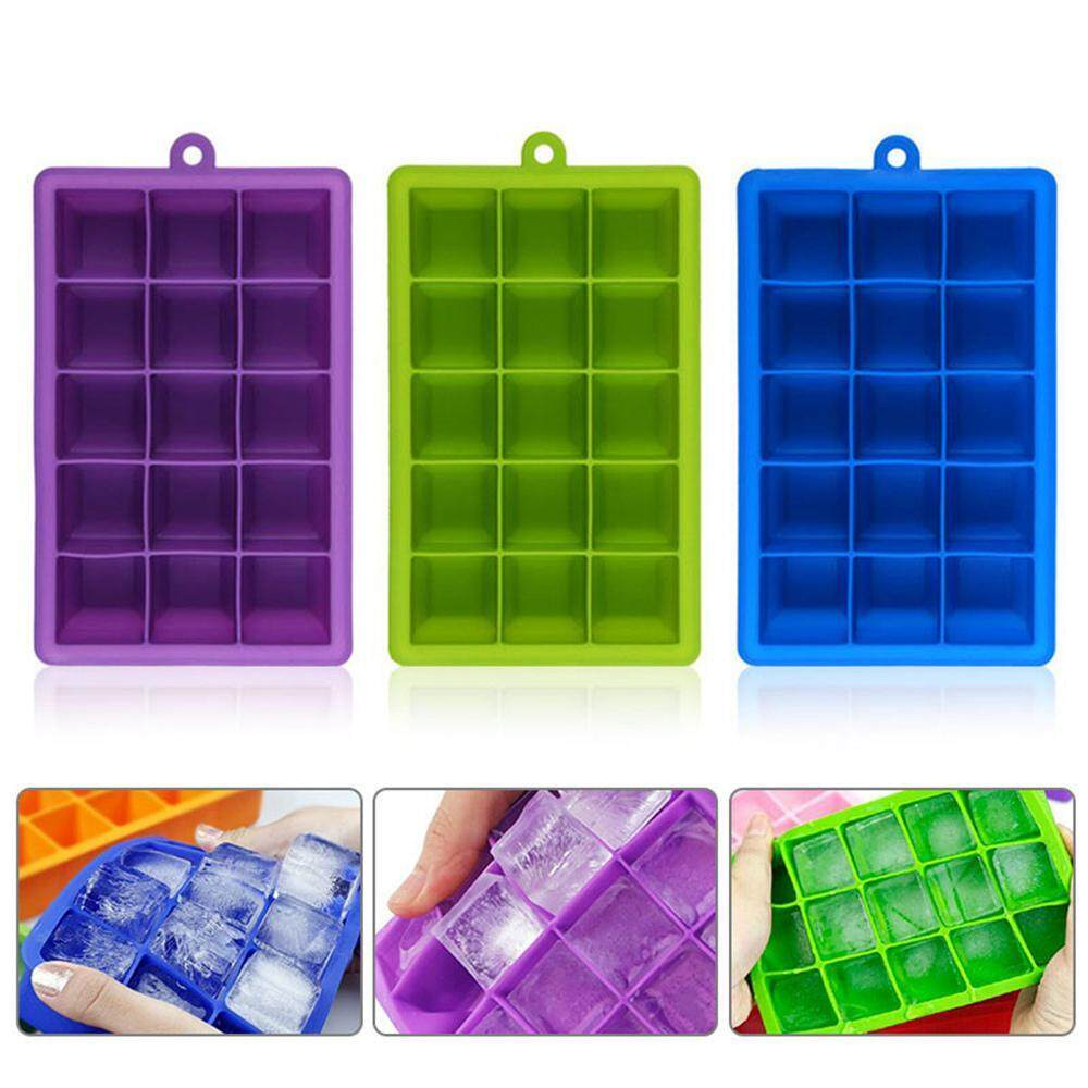 Orzbuy 3 Pack 15 Grid Diy Square Silicone Ice Mold Trays - Easy Release Ice Cube Mold Containers - Silicone Mini Ice Cube Maker For Drink Cooling By Orzbuy.