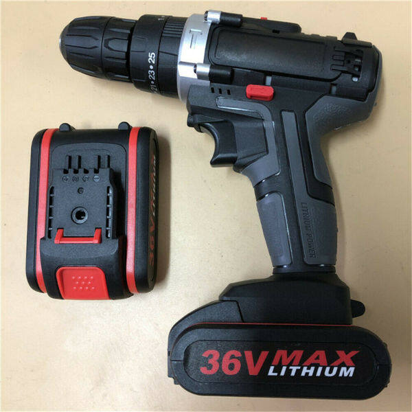 【Free Shipping】36V Electric Brushless Cordless Hammer Impact Wrench Drill 2 Speed 25 Torque Tools with Li-ion-Battery and Charger