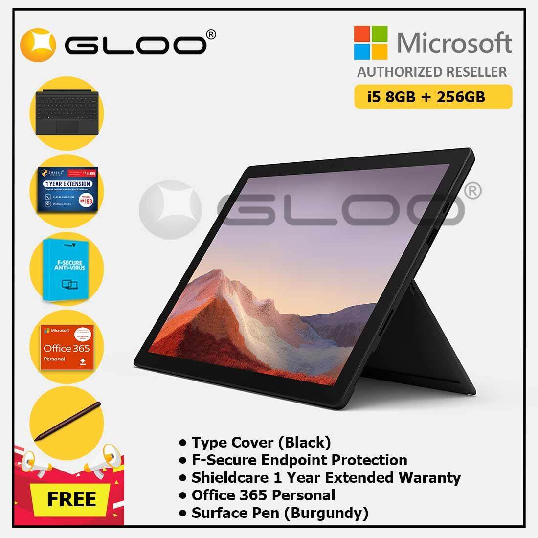 Microsoft Surface Pro 7 Core i5/8G RAM - 256GB Black - PUV-00025 + Surface Pro Type Cover [Choose Color] + Shieldcare 1 Year Extended Warranty + F-Secure Endpoint Protection + Office 365 Personal (ESD) + Surface Pen  [Choose Color] Malaysia