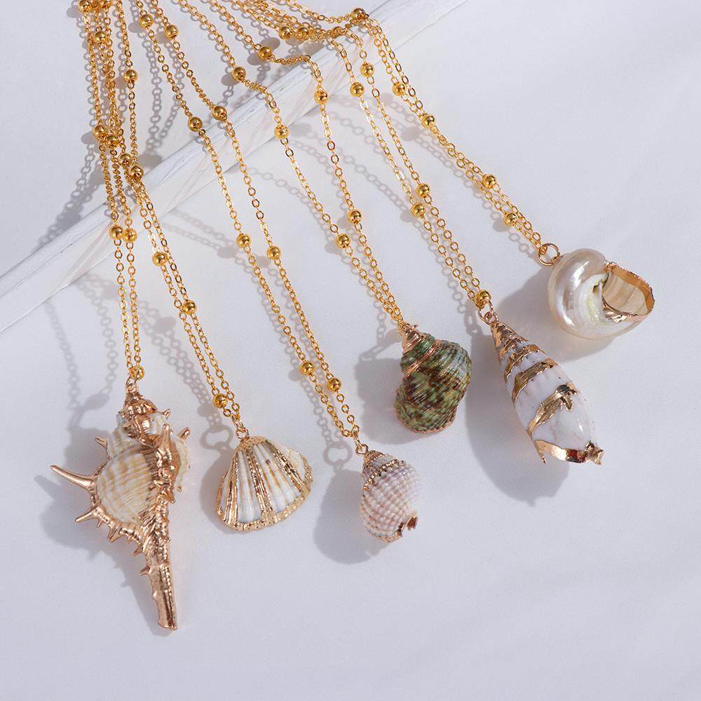 NEW Fashion Women Golden Conch Sea Shell Cowrie Chain Necklace Pendant Jewelry