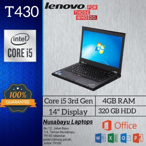 Best Student/Office Ultrabook LAPTOP LENOVO ThinkPad T430/ Core i5-3RD GEN / 4Gb / 320Gb HDD / 14 inch Display  / Windows 10~Wifi / Lightweight / (used laptop in Nice condition) Malaysia