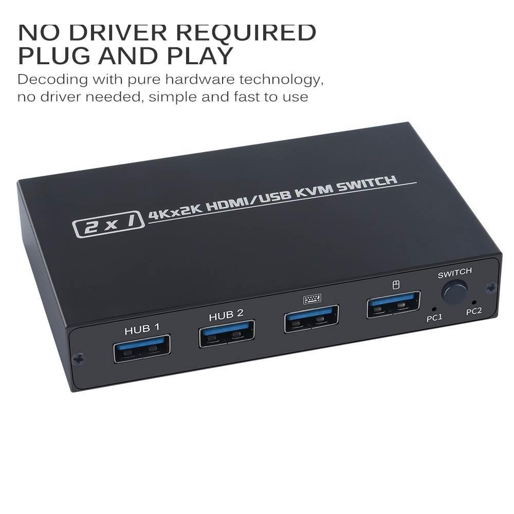 Dành Cho 2 Chiếc Chia Sẻ Bàn Phím Và Chuột Hộp Chuyển Đổi KVM HDMI 2 Cổng Cho Máy In Công Tắc USB Hiển Thị Video 4K KVM Hộp Phân Phối