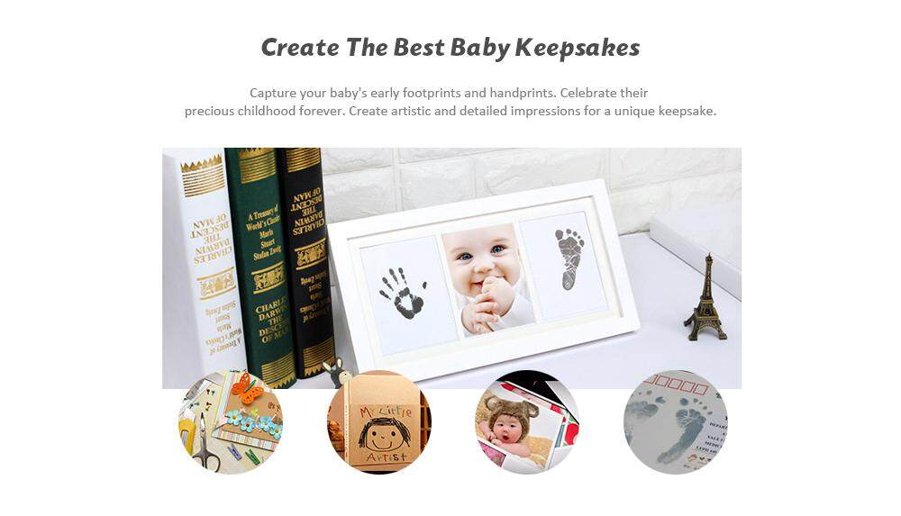Comfkey Baby Handprint And Footprint Photo Frame Kit For Newborn Boys And Girls, Babyprints Paper And Clean Touch Ink Pad To Create Babys Prints, Amazing Baby Shower Gifts By Comfkey.