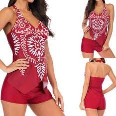 Naponie Nữ Plus Kích Thước Dây In Hình BẤT ĐỐI XỨNG Viền Áo Tắm Bikini Đồ Bơi Tankini
