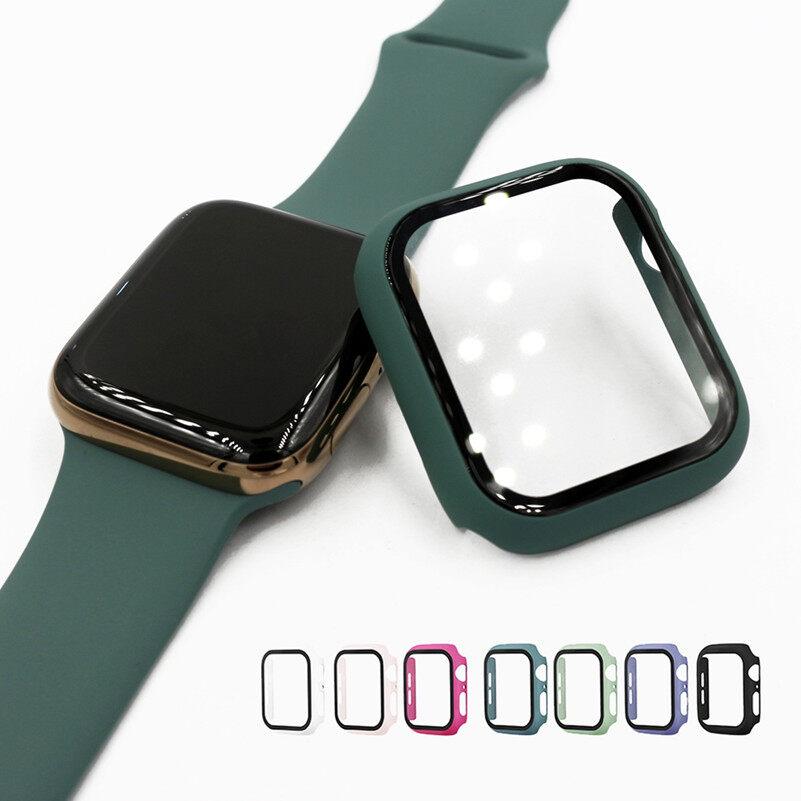 Bảo Vệ Toàn Màn Hình 360 Khung Giảm Chấn Ốp Cứng Mờ Nhựa PC Cho Apple Watch Ốp 5/4/3/2/1 Miếng Dán Kính Cường Lực Cho Đồng Hồ I 4/5