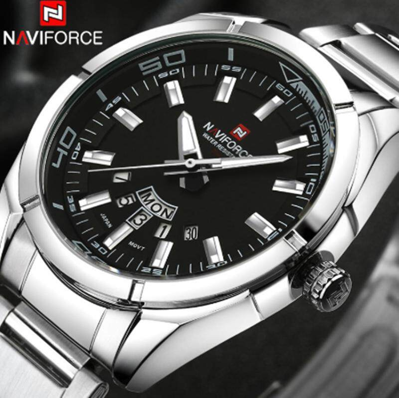 NAVIFORCE Top Mens Brand Luxury Business Watches Fashion Full Steel Men Quartz Date Watch Casual Men Sport Waterproof Clock Malaysia