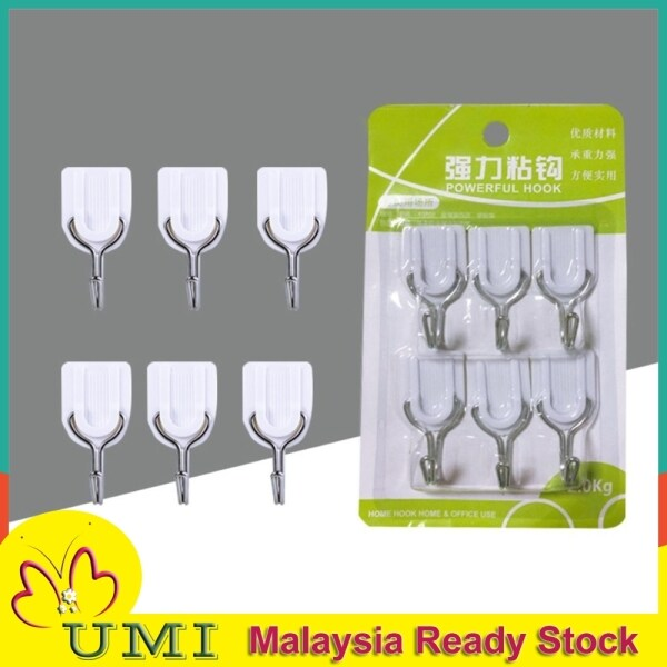READY STOCK UMI UHL039 6pcs Magic Wall Hook Kitchen Without Nails Strong Sticky Hooks Heavy Hanging Adhesive Stainless Steel