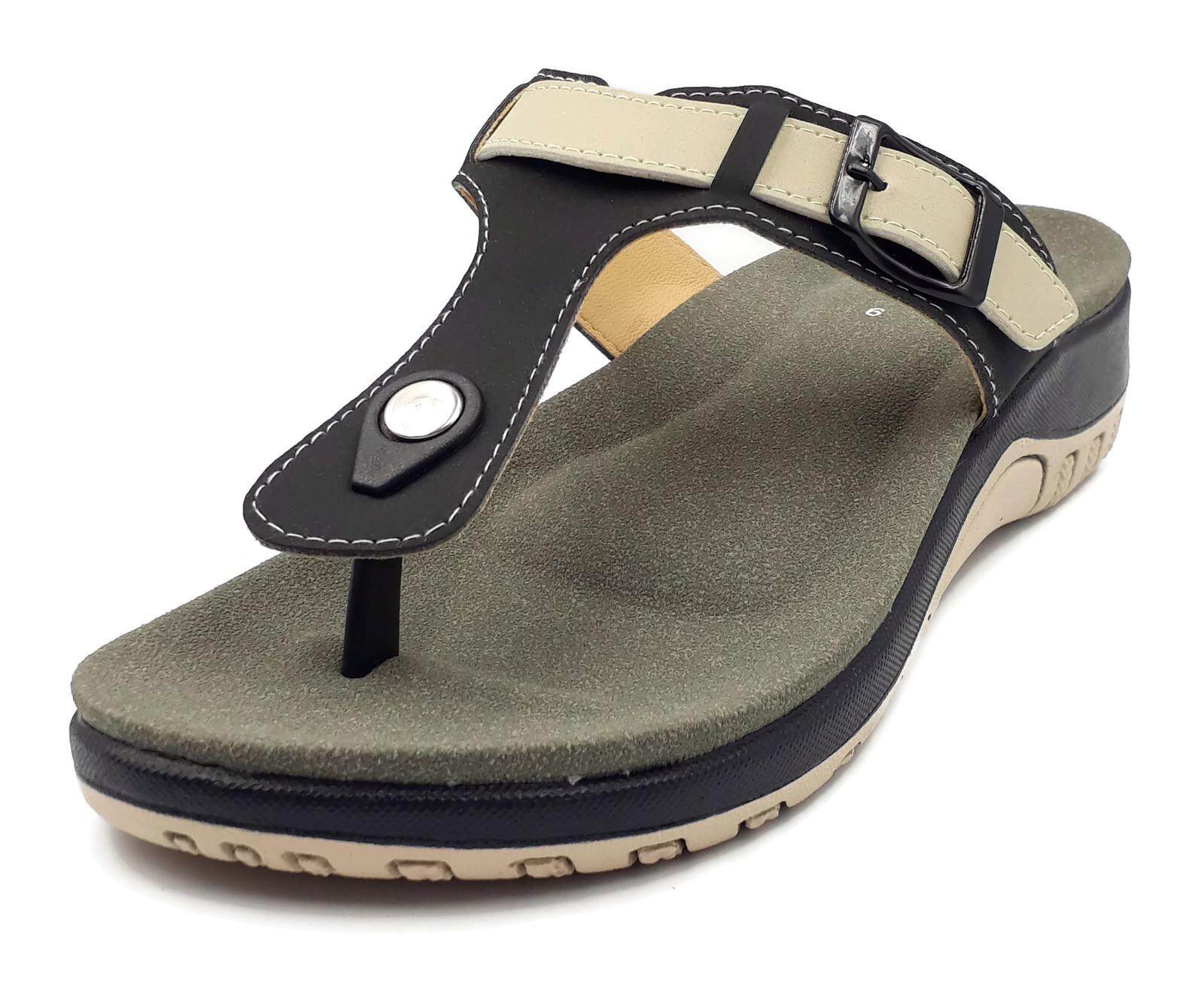 Women Comfort Durable T Strap Flat Slip On Shoes By Happy Save.