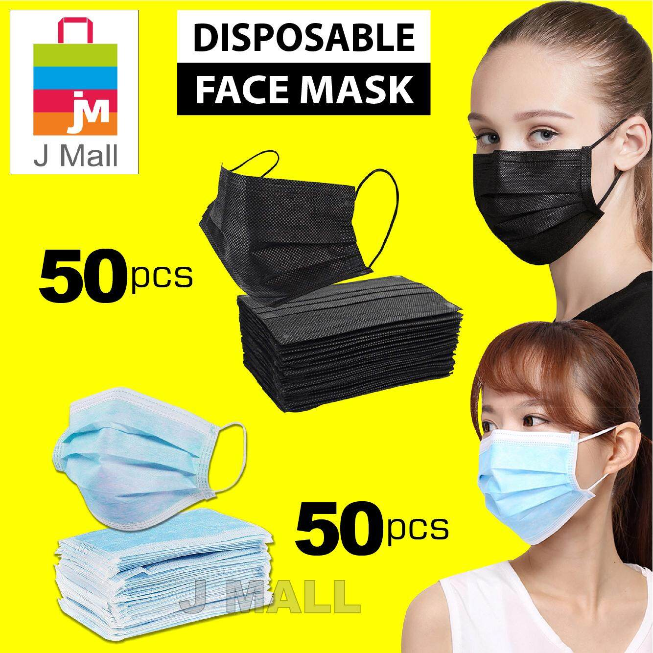 50PCS Face Mask Surgical Disposable 3ply Face Mouth Mask Filter BLUE/ BLACK