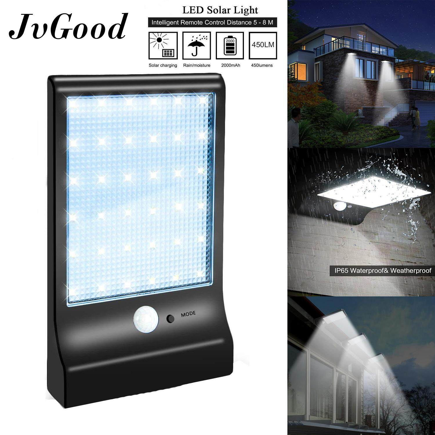 JvGood 36 LED Solar lights Outdoor Lighting Wall Power Street Light Motion Sensor Detector Light Security Lamp Garden 450LM