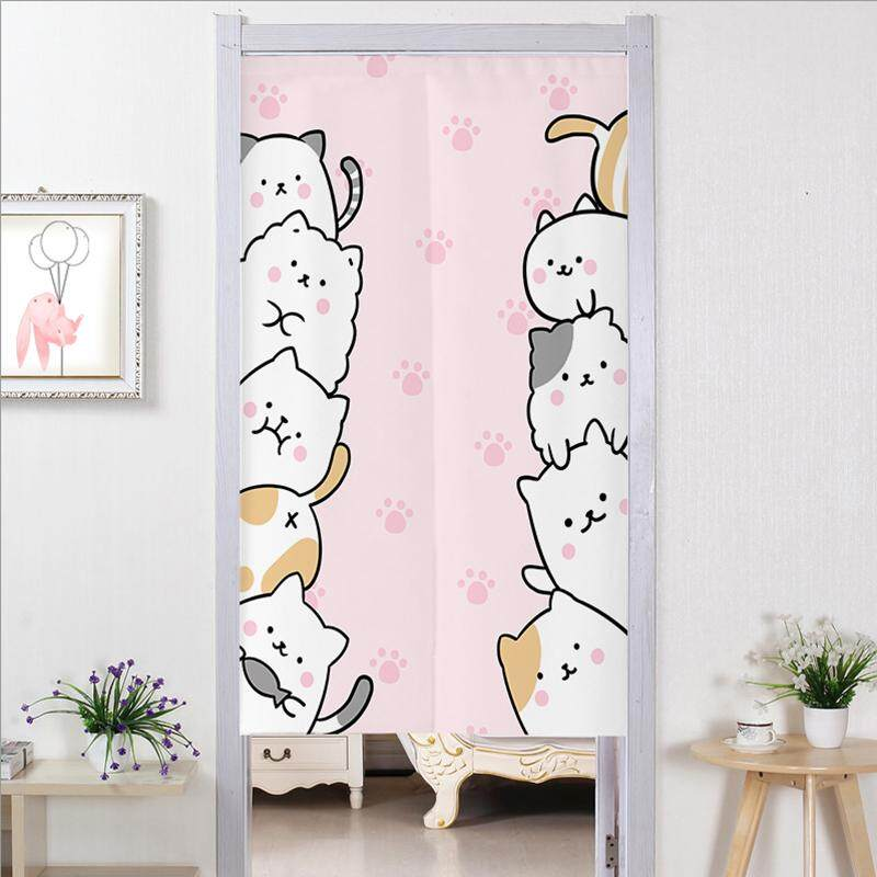 Creative cartoon Cute cat Bedroom living room decorative partition long Door curtain fabric bedroom Print cute Door curtain kitchen short Door curtain with rod