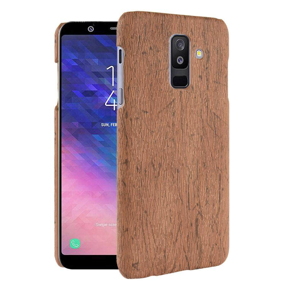 Galaxy A6 Plus 2018 Case, Meishengkai Premium Color Coating [Wood Texture] Mixed Hard
