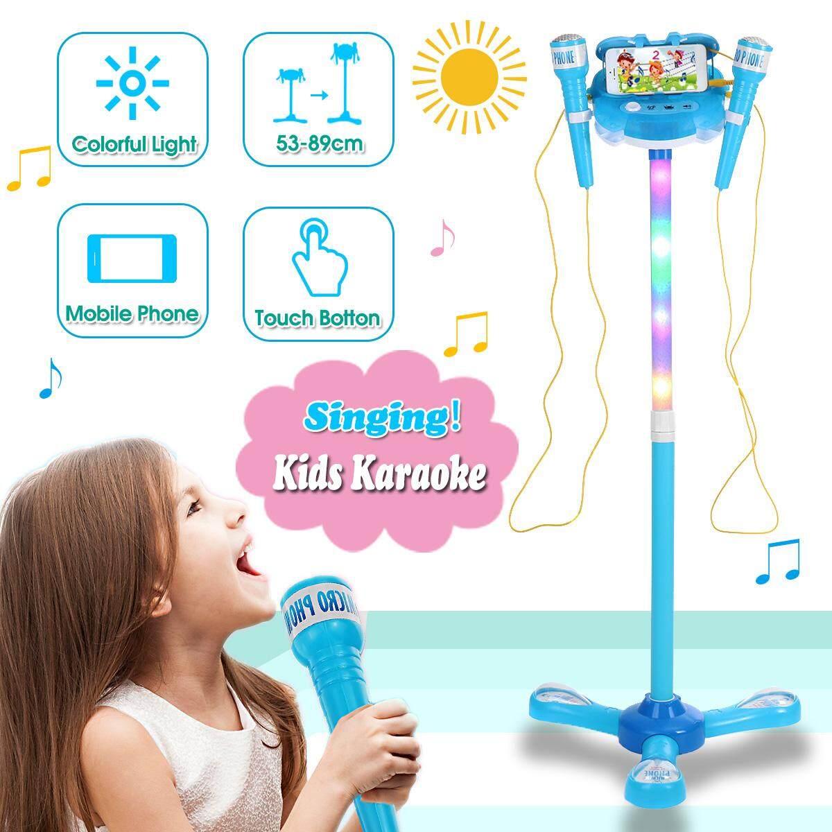 Trẻ em Karaoke 2 Micro Có Thể Điều Chỉnh Đứng Điện Thoại Phát Nhạc Đồ Chơi W/Ánh Sáng Tặng