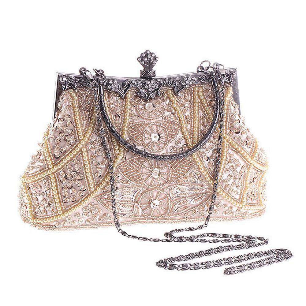 SilyNew Womens Vintage Style Beaded And Sequined Evening Bag Wedding Party Handbag Clutch Purse