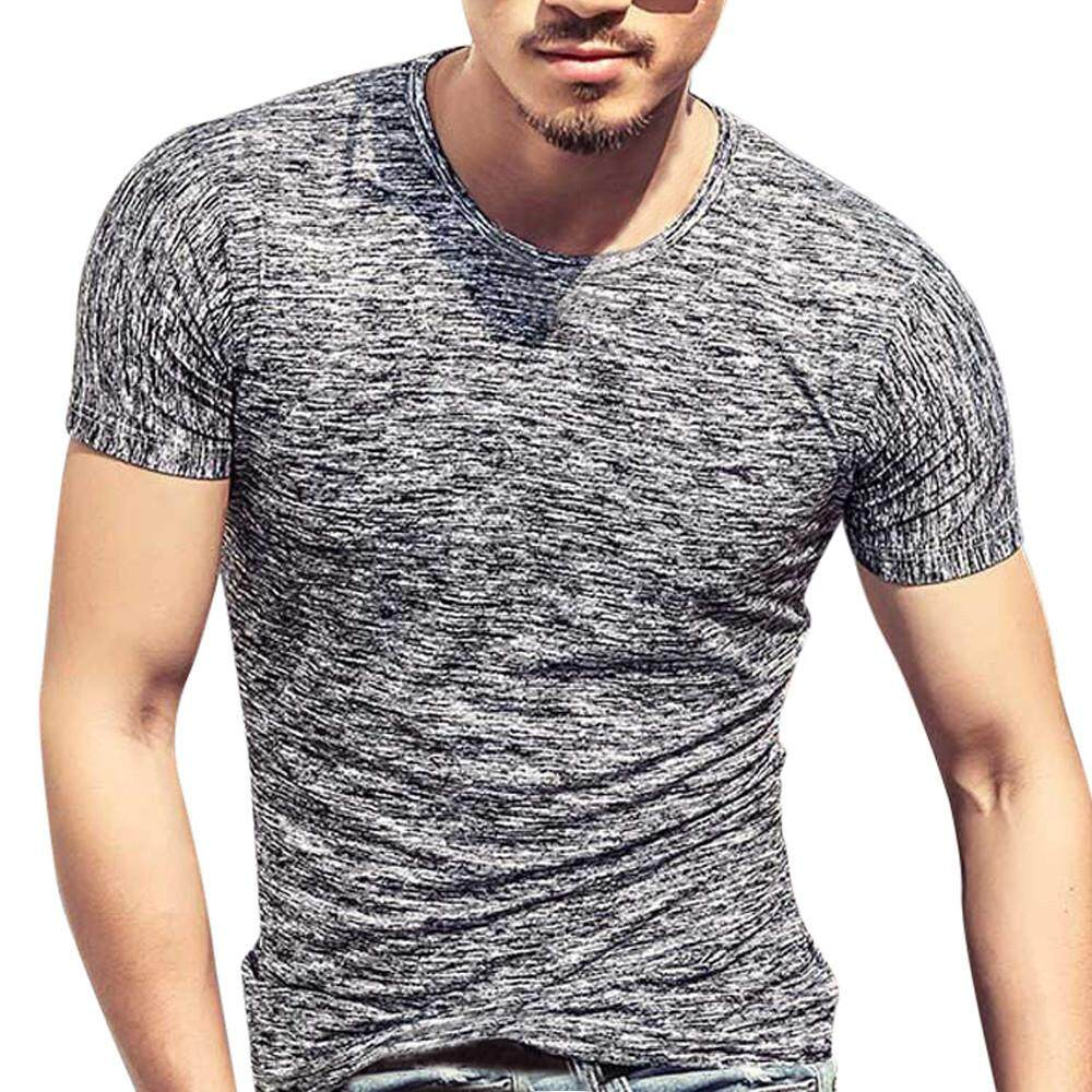 0ee35171b Simpyfine Summer Men Short Sleeve Print Casual Slim Blouse T-Shirt Top