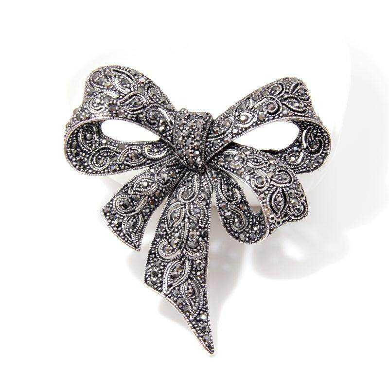 Black Color Rhinestone Bow Brooches Large Bowknot Brooch Pin Vintage Jewelry By Best Land.