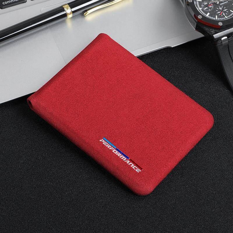 For BMW E46 E90 E60 5/6/7 Series F10 F20 F30 GT F07 X3 f25 X4 X5 X6 Alcantara Bank Credit ID Card Holder Men Card Package Holder(Red)
