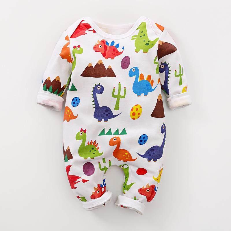 89b2867fd Spring new 100% cotton long sleeve round collar cute dinosaur printed baby  climbing clothes retail