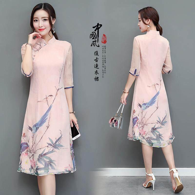 1618c92ea New Women's Satin Cheongsam Evening Dress Chinese Oriental Qipao Dresses  Traditional Chinese Ink Painting Retro Dress