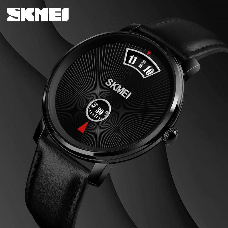 SKMEI Quartz Watch Business Mens Clock Black Simple Style Wristwatches Waterproof SKMEI Leather/Metal Strap Malaysia