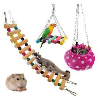 Bộ 3 đồ chơi với giường treo xích đu cầu thang cho thú cưng chuột hamster sóc vẹt Huanhuang - INTL thumbnail