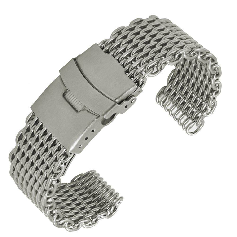 Eshopdeal Watch Strap Shark Mesh Stainless Steel Watch Band Strap Folding Clasp Watchband (Short Pattern Silver) Malaysia