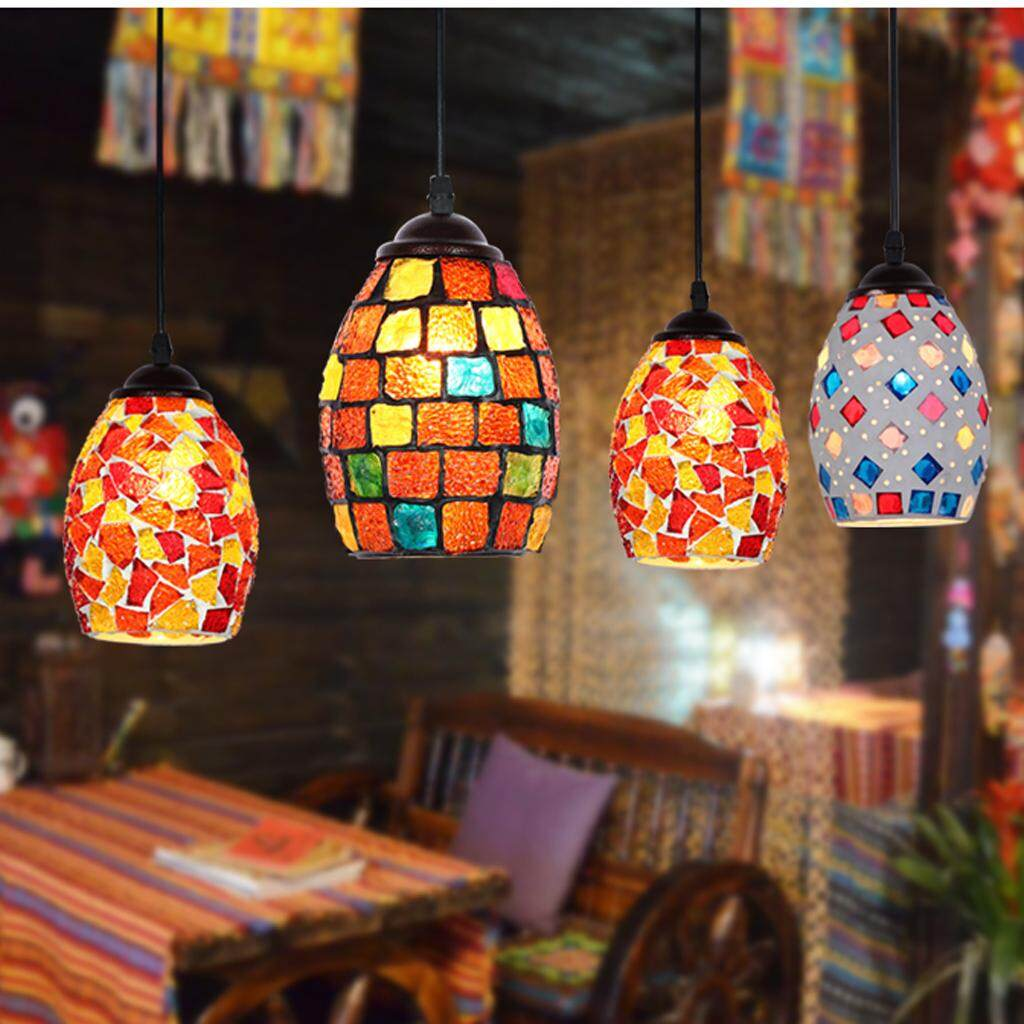 Perfk Multicolour Bar Cafe Pendant Light Retro Mosaic Style Hanging Ceiling Lamp Shade