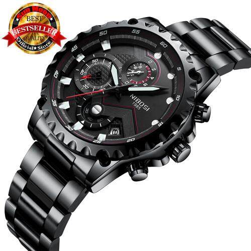 NIBOSI Top Brand Mens Watch Mens Casual Fashion Watch Large Dial Sports Watch Military User Outside ...