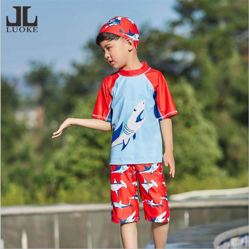 ab52a61227c Luoke 2019 New Swimwear Children Boy Swimsuit Two Pieces Bathing Suits  Short Sleeve Cute sportswear Kids Beach Swimming Suit