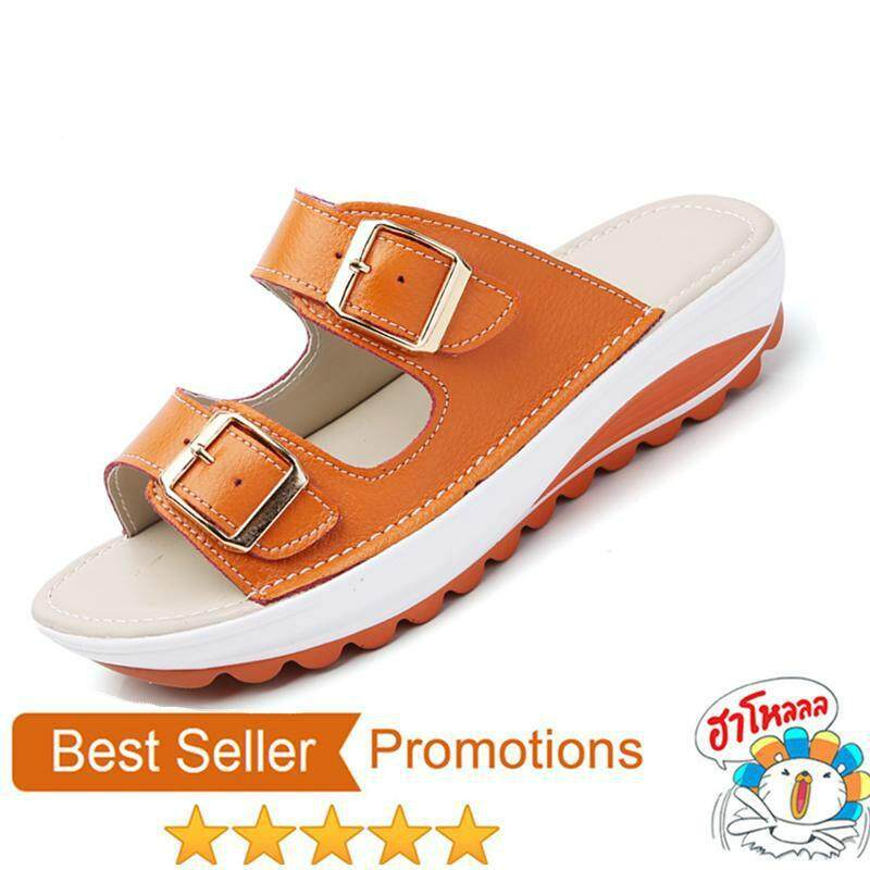 b1d569727e1 YEAST Summer Women Sandals Shoes platform Leather buckle Flats Light Soft  Ladies casual heel comfortable Slides