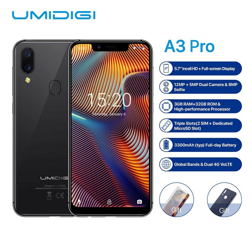 UMIDIGI A3 Pro Mobile Phone Global Band 5.7-Inch 19:9 FullScreen 3GB+32GB Android 8.1 12MP Face Unlock Dual 4G Smartphone