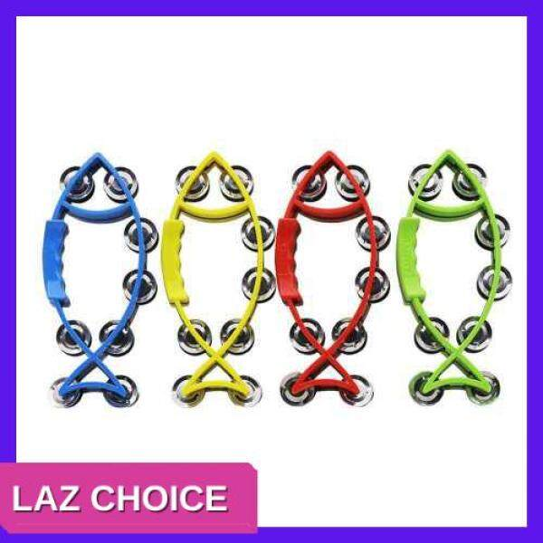 LAZ CHOICE Hand Held Bell Rattles Fish-shape Tambourine Percussion with Double Metal Jingles Children Educational Musical Toy for Party Dancing Games Color Random Delivery Malaysia