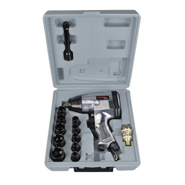 Ready Stock DIY 1/2-Inch Air Impact Wrench Set With Impact Sockets And Blow Mold Case (17pcs)