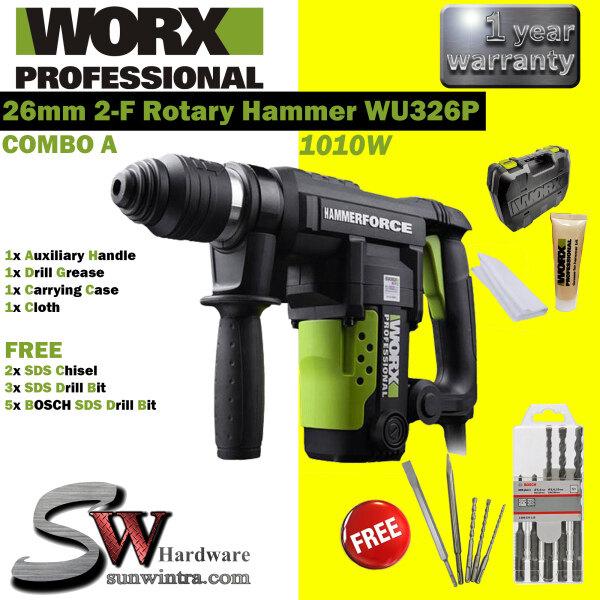 WORX 1010W 26MM 2-F ROTARY HAMMER WU326P/WU 326P F.O.C 8x DRILL BIT , 2x CHISEL